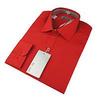 Мужская классическая рубашка De Luxe 214D красная (длинный рукав)