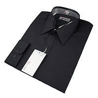Мужская классическая рубашка De Luxe 301D черная (длинный рукав)