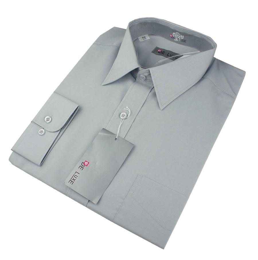 Мужская классическая рубашка De Luxe 304D светло-серая (длинный рукав)