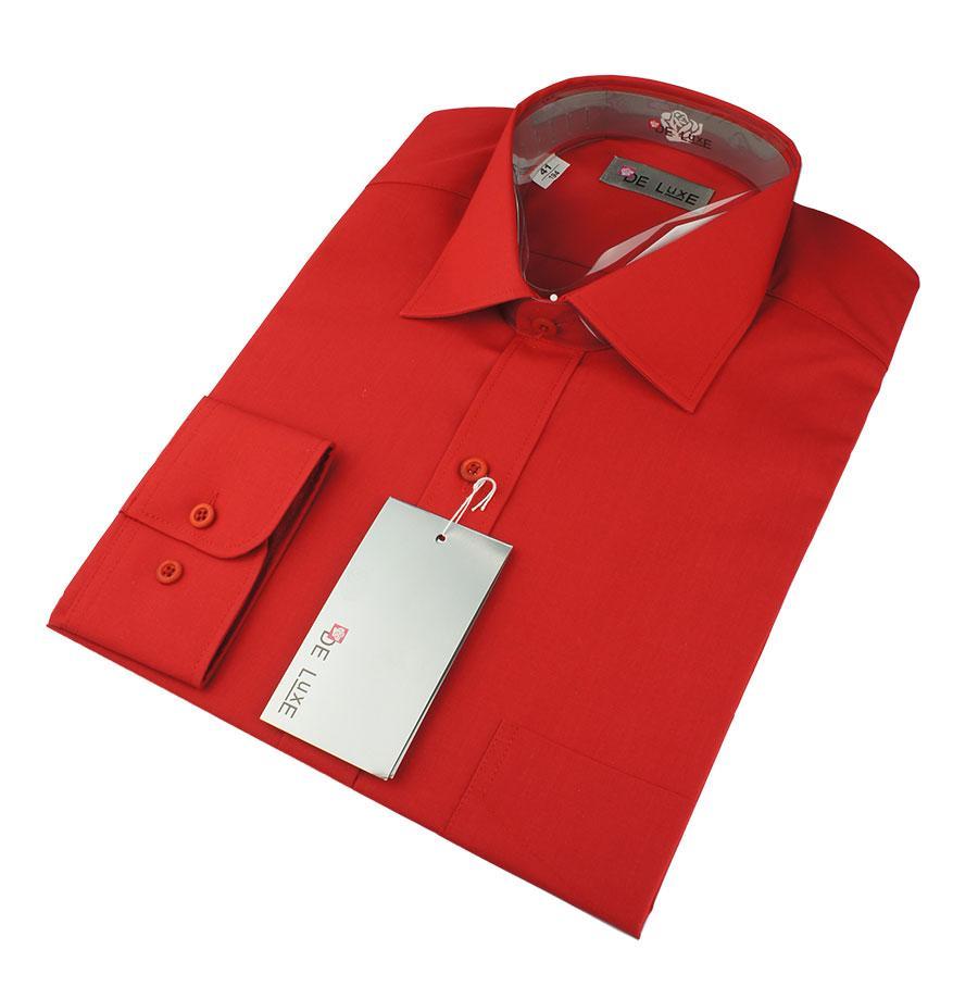 Мужская классическая рубашка De Luxe 206D теракот (длинный рукав)