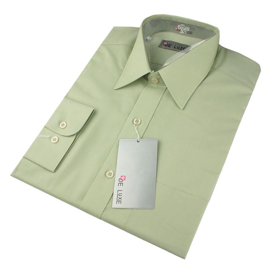 Мужская классическая рубашка De Luxe 403D фисташковая (длинный рукав)