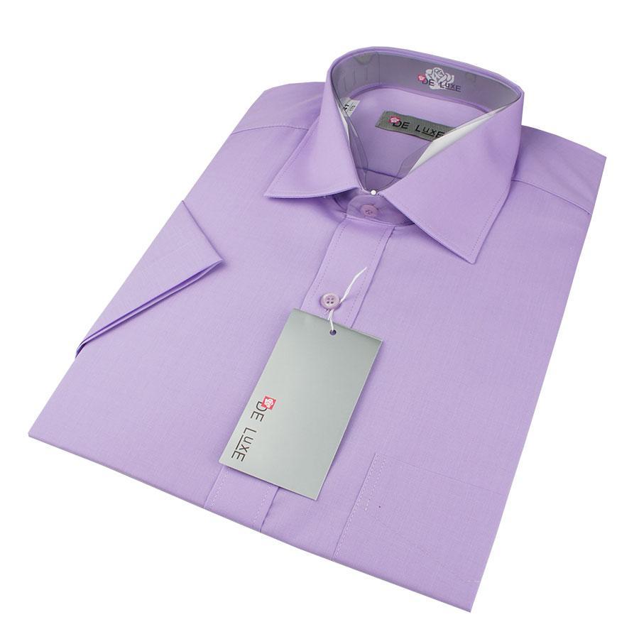 Мужская классическая рубашка De Luxe 218К фиолетовая (короткий рукав)