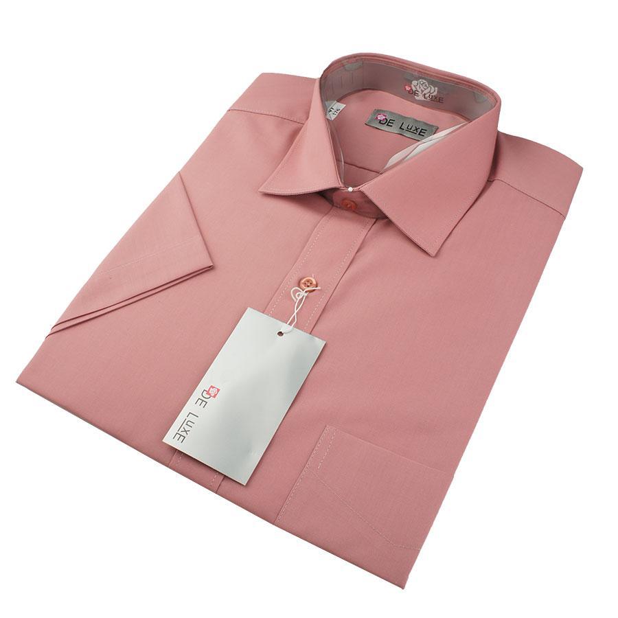 Мужская классическая рубашка De Luxe 210К сухая роза (короткий рукав)