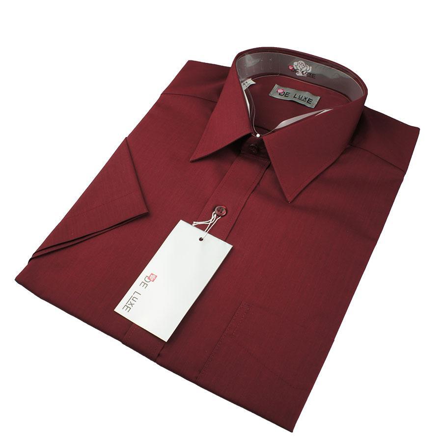 Мужская классическая рубашка De Luxe 205K бордовая (короткий рукав)