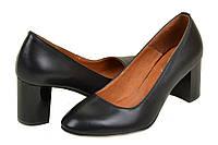 Туфли женские на каблуке кожаные черные