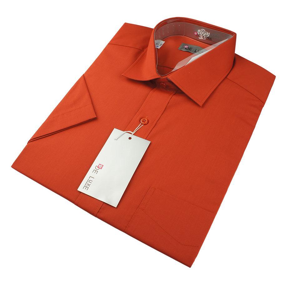 Мужская классическая рубашка De Luxe 206К терракот(короткий рукав)