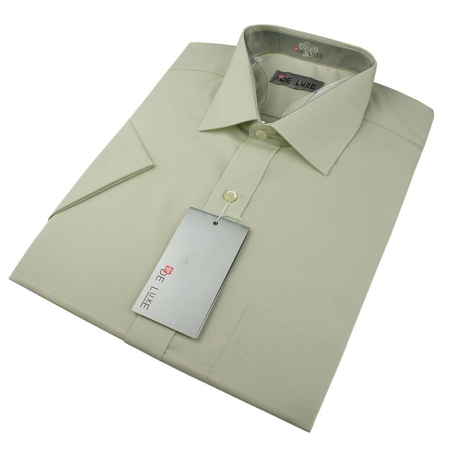 Мужская классическая рубашка De Luxe 401К светло-фисташковая (большой размер)