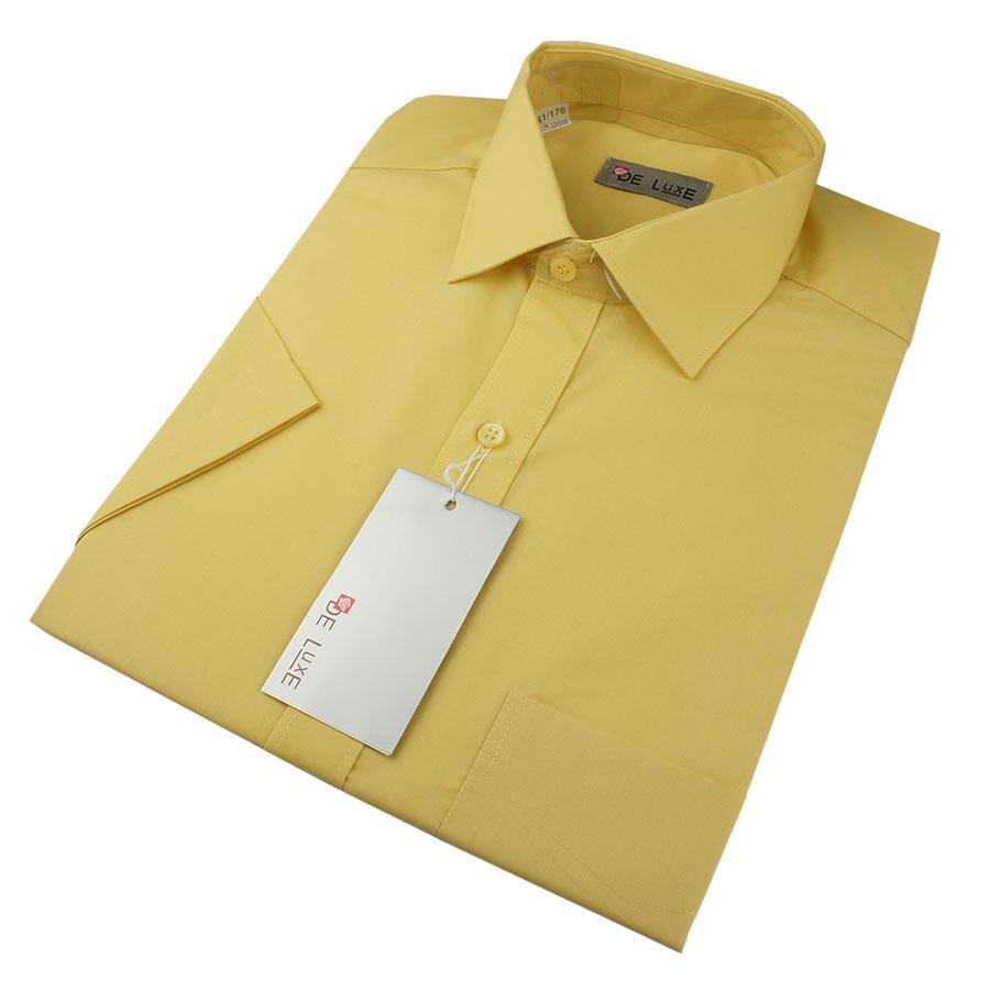 Мужская классическая рубашка De Luxe 112К желтая (большой размер)
