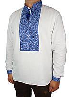 Стильная мужская вышиванка Flax 045-ч Н син.на хлопке