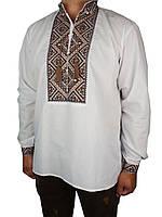 Красивая мужская вышиванка Flax 013-ч Н коричн.