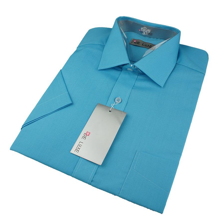 Мужская классическая рубашка De Luxe 420К морская волна (короткий рукав)