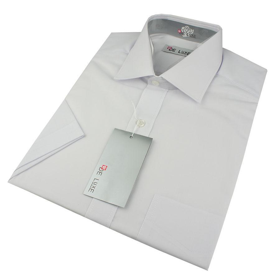 Мужская классическая рубашка De Luxe 101K белая (короткий рукав)