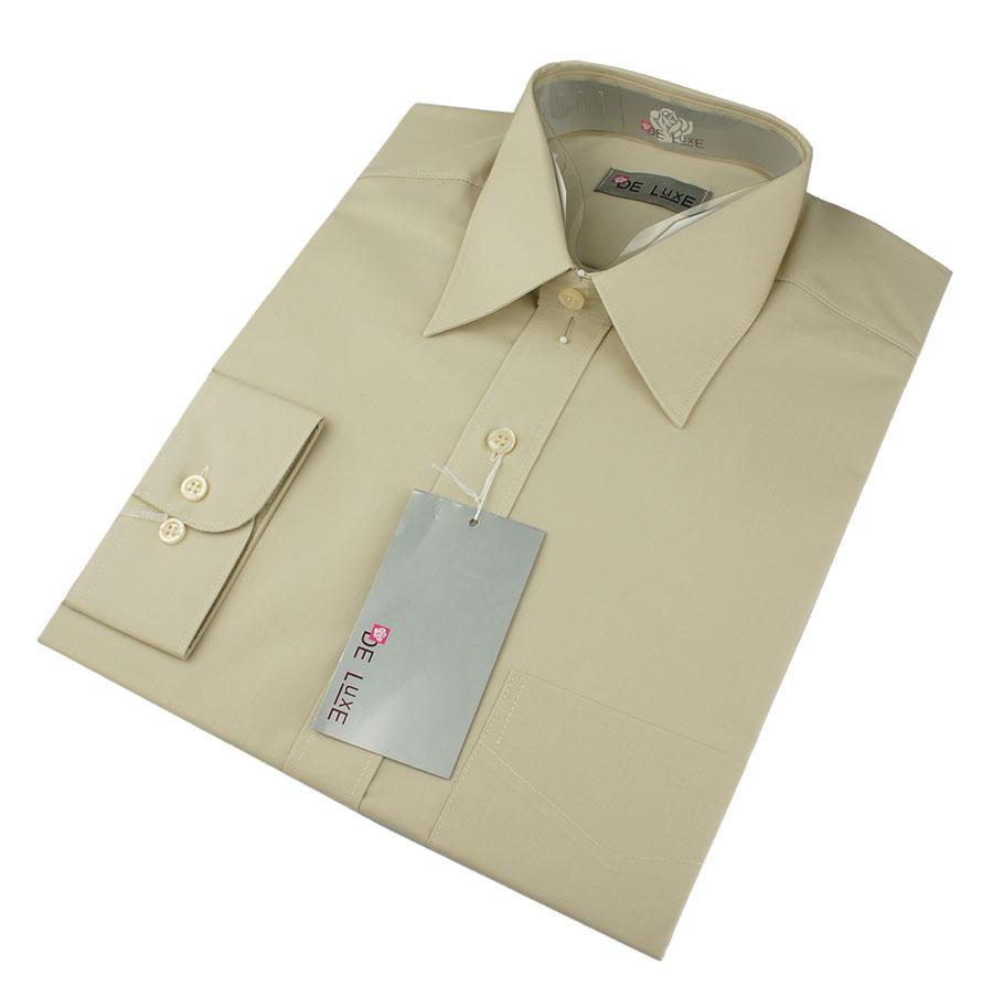 Мужская классическая рубашка De Luxe 106D бежевая (большой размер)