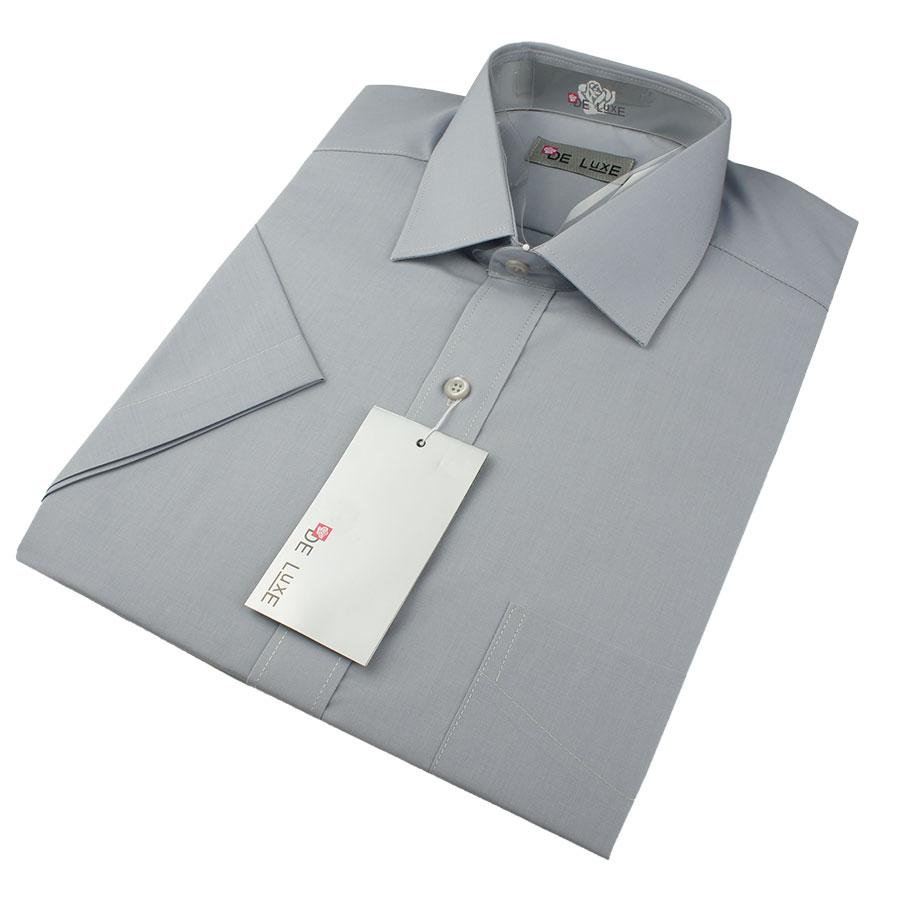 Мужская классическая рубашка De Luxe 304К светло-серая (большой размер)