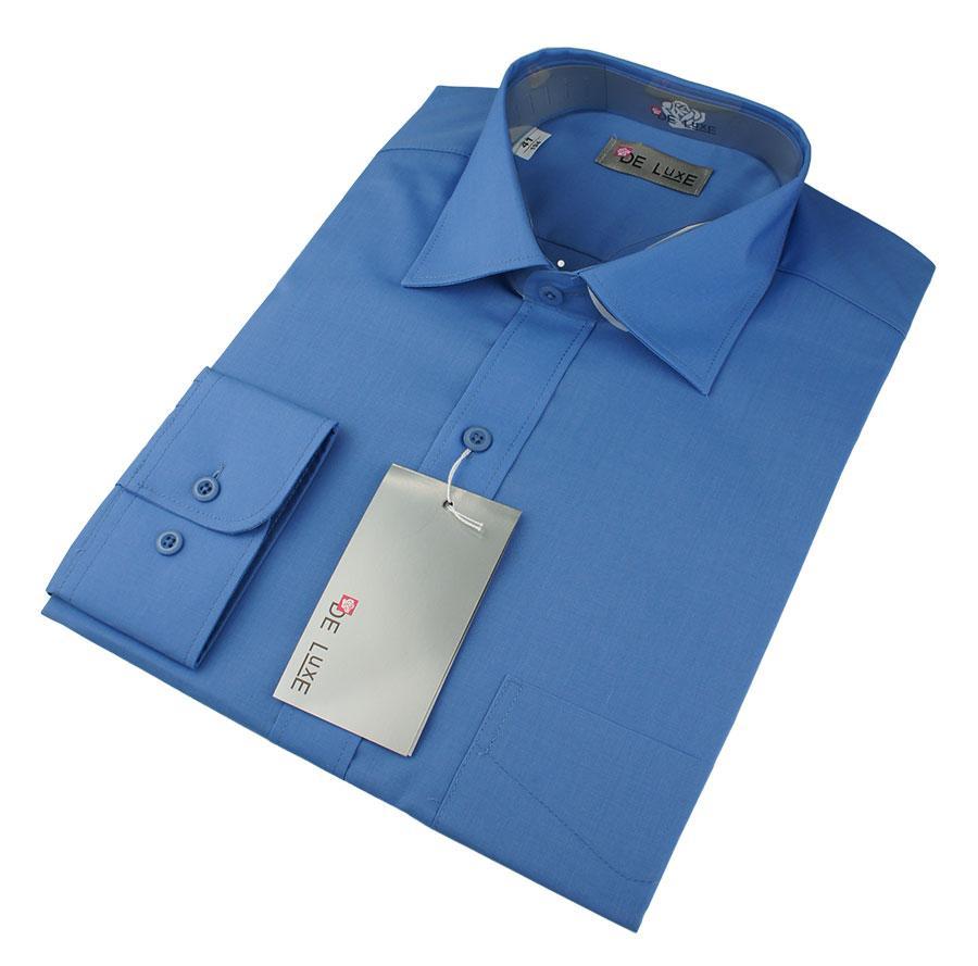 Мужская классическая рубашка De Luxe 202D синяя (большой размер)