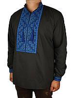 Мужская вышиванка Flax 023-ч Н черного цвета с синим узором