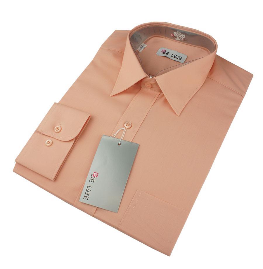 Мужская классическая рубашка De Luxe 117D персиковая (длинный рукав)