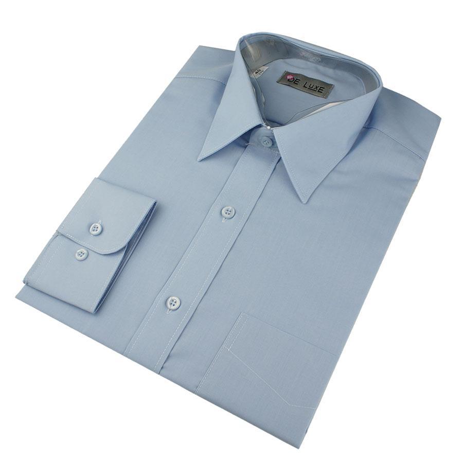 Мужская классическая рубашка De Luxe 203аD светло-синяя (длинный рукав)