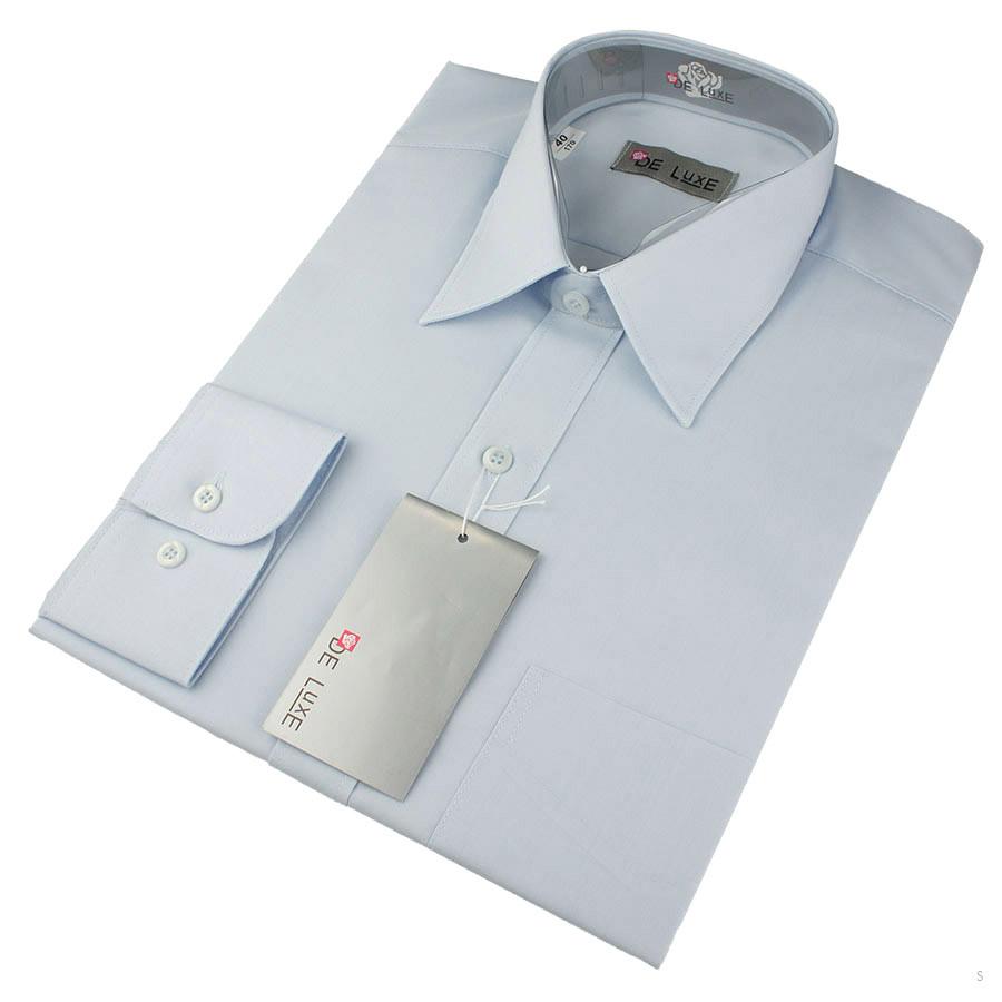 Мужская классическая рубашка De Luxe 203D голубая (длинный рукав)