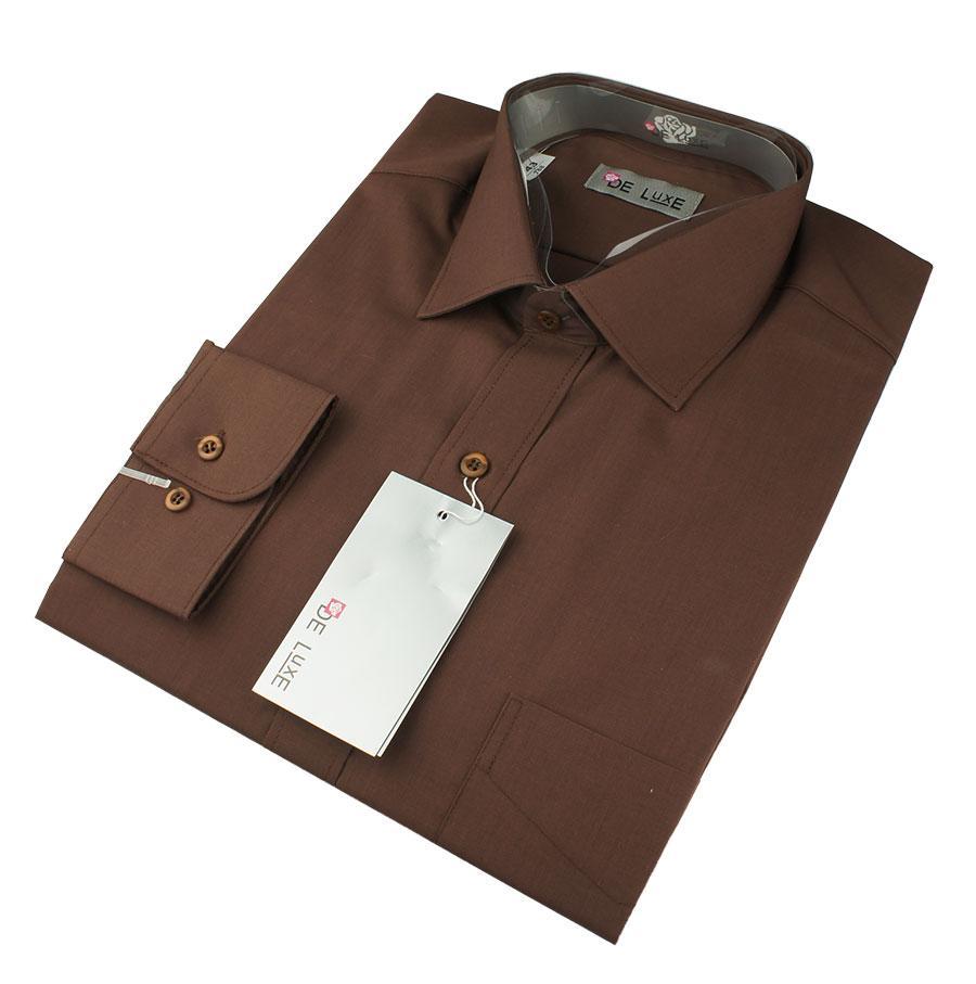 Мужская классическая рубашка De Luxe 412D коричневая (длинный рукав)