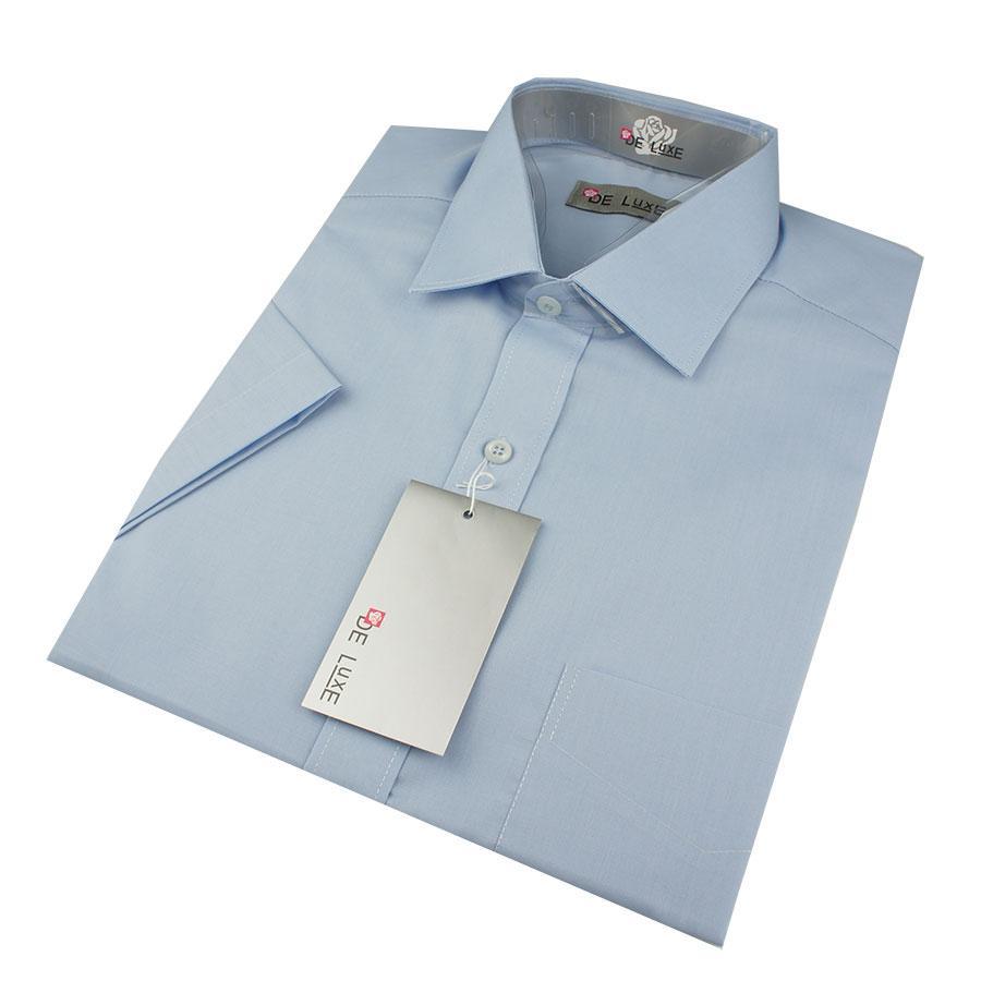 Мужская классическая рубашка De Luxe 203aК голубая (короткий рукав)