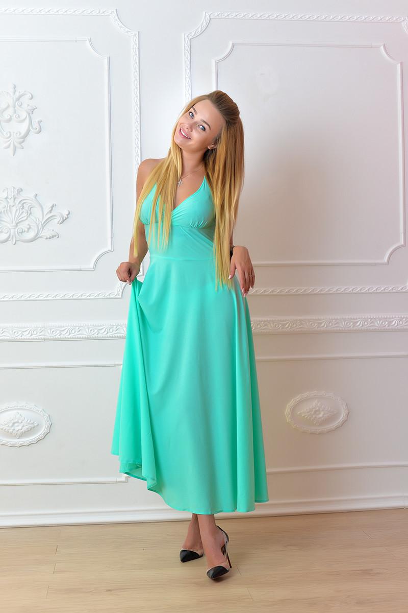 Платье длинное, М-2, цвет ментол