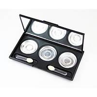 Пустая палитра для теней, консилеров, помад, румян на 3 ячейки с зеркалом 36мм Make Up Me EMP336 - EMP336