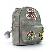 Рюкзак - сумка малая кожзам молодежная серая Valensiy 652-3, фото 1
