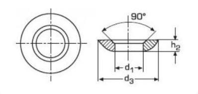 Схема габаритных размеров шайбы сферической DIN 6319