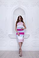 Платье с разрезами по бокам в полоску, без рукава. Идеальная посадка на любой размер, платье-футляр. В цветах