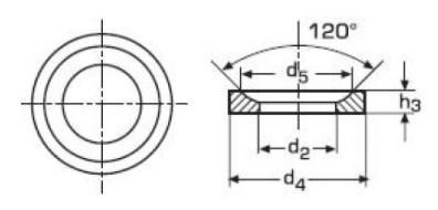 Схема габаритных размеров шайбы конической DIN 6319