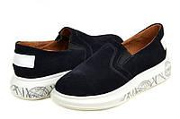 Женские туфли слипоны замшевые
