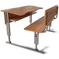 Антисколиозные парты 2-х местные регулируемые по высоте с передней панелью и полкой. Школьная мебель.