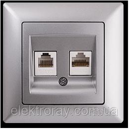 Розетка компьютерная - телефонная CAT5 x RJ11 Gunsan Visage Metallic серебро, фото 2