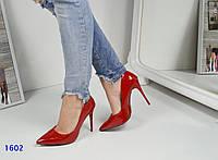Туфли-лодочки женские на тигровой подошве красные
