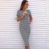 Эффектное миди платье, платье в полоску. Разные цвета в ассортименте, размеры от 42 до 54., фото 1