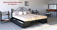Кровать металлическая Адель двуспальная с ящиками