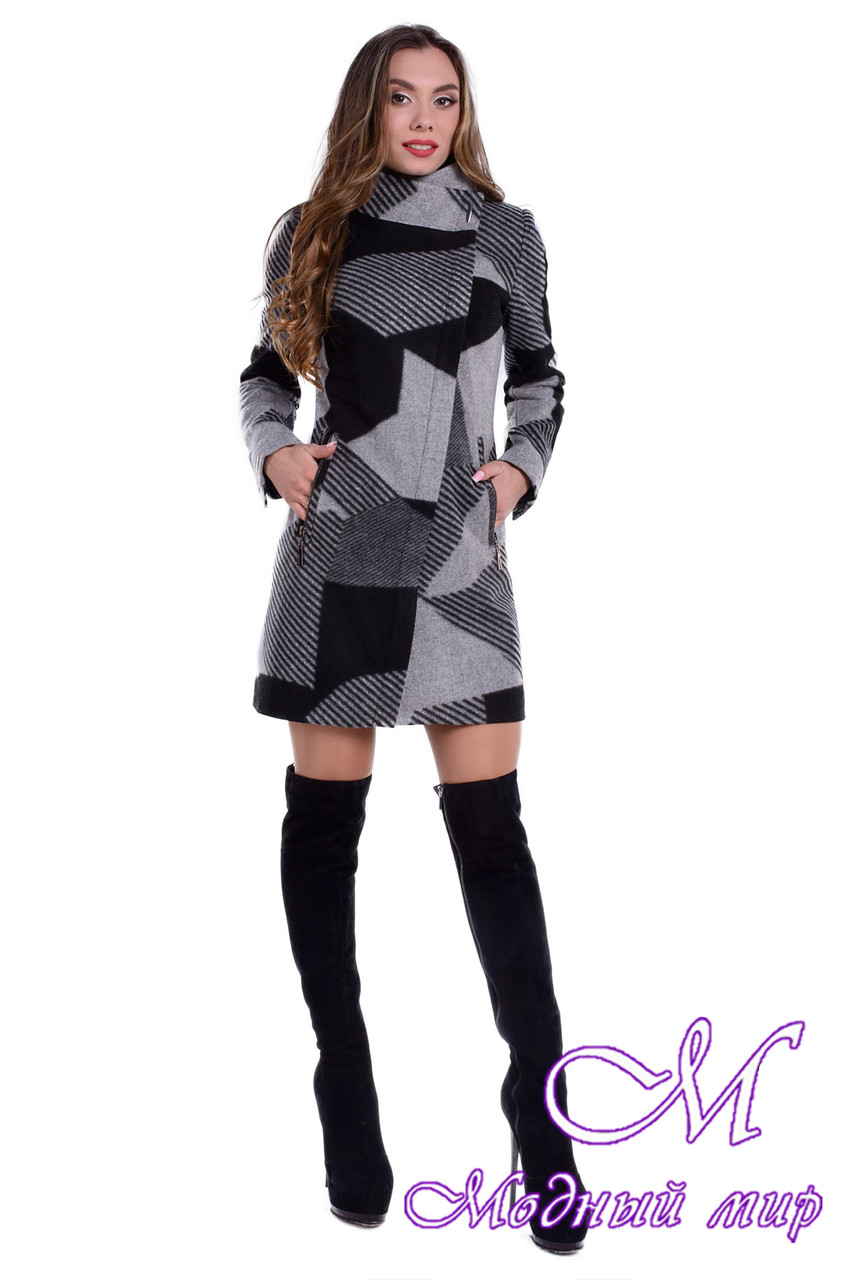 Женское осеннее пальто с принтом (р. S, M, L) арт. Эльпассо принт шерсть 6204