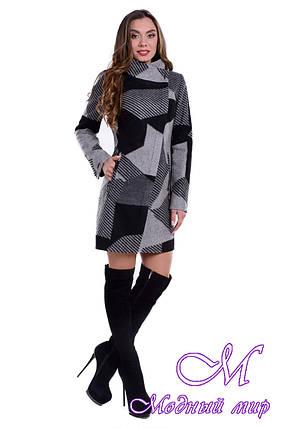 Женское осеннее пальто с принтом (р. S, M, L) арт. Эльпассо принт шерсть 6204, фото 2