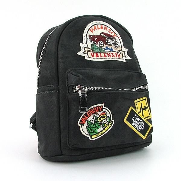 Рюкзак - сумка малая кожзам молодежная черная Valensiy 652-8