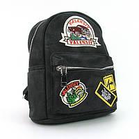 Рюкзак - сумка малая кожзам молодежная черная Valensiy 652-8, фото 1