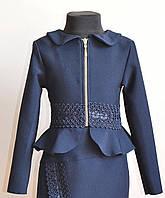 Школьный пиджак для девочек от 6 до 12 лет синего цвета, фото 1