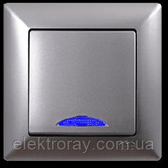 Выключатель с подсветкой Gunsan Visage Metallic серебро