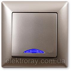 Выключатель с подсветкой Gunsan Visage Metallic золото