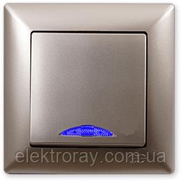 Выключатель с подсветкой Gunsan Visage Metallic золото, фото 2