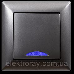 Выключатель с подсветкой Gunsan Visage Metallic дымчатый