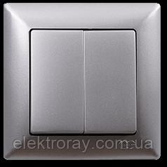 Выключатель двойной Gunsan Visage Metallic серебро