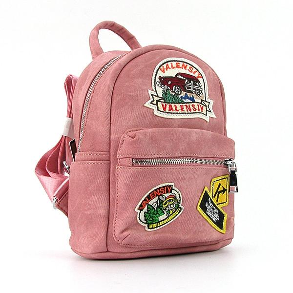 Рюкзак - сумка малая кожзам молодежная розовая Valensiy 652-9