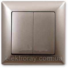 Выключатель двойной Gunsan Visage Metallic золото