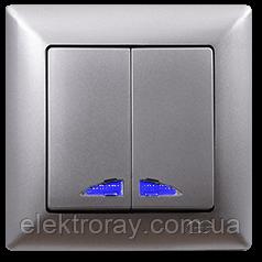 Выключатель двойной с подсветкой Gunsan Visage Metallic серебро